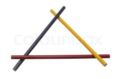 Three pencils forming a triangle