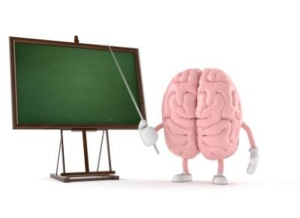 brain at chalkboard with pointer